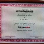 Mastercam certificate